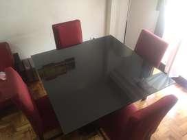 Juego De Comedor Mesa1.20x1.20+vidrio6 Mm+4sillaschenille