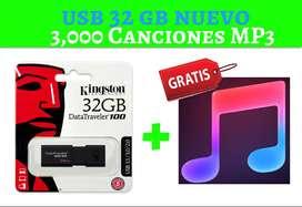 USB 32 GB + 3000 CANCIONES ALTA CALIDAD EN MP3 DE 320 KBPS  - VIDEOS MUSICALES HD