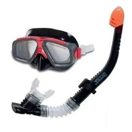 Snorkel Set Careta Buceo Intex Ori Policarbonato