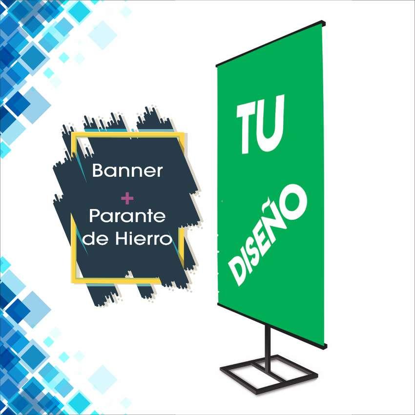 Parante Banner Stand de Hierro. 2x1m Ajustable 0