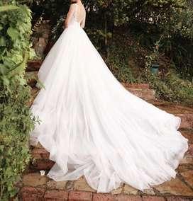 Vendo vestido de novia rosa clara