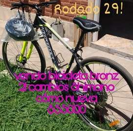 Vendo bicicleta rodado 29, marca Bronz 24 cambios Shimano , un solo uso.