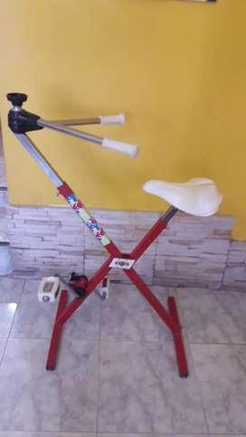 Bicicleta fija con remo