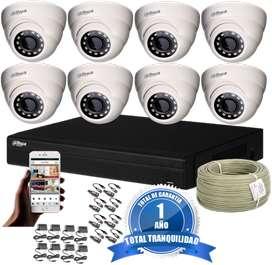 Kit CCTV Dahua DVR Pentahíbrido 8 Ch más 8 Cámaras Domo 720p