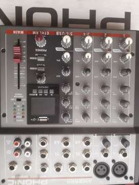 Consola Phonic Am220 Stereo 4canales canales