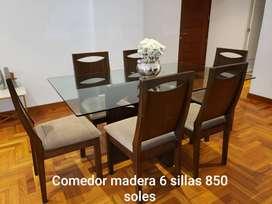 Comedor Madera Seis Sillas