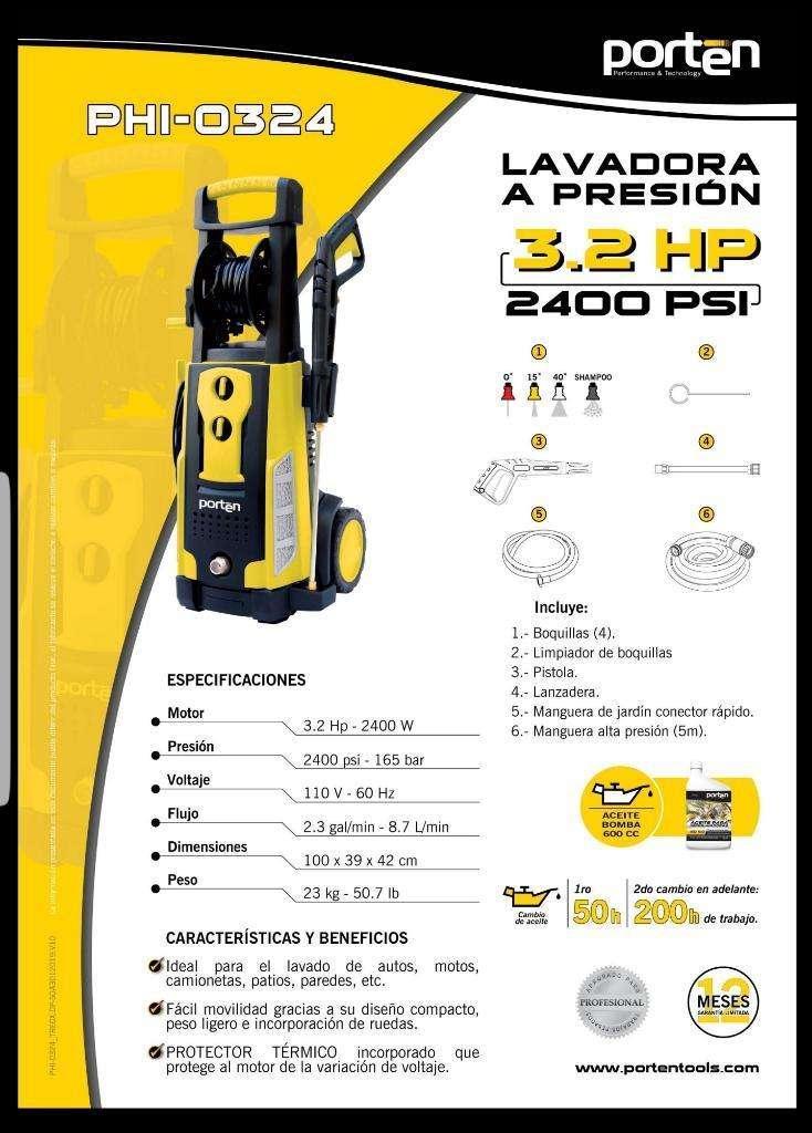 hidrolavadora o lavadora  A PRESIÓN PORTEN 3.2 HP 2400 PSI NUEVO CON GARANTIA 0
