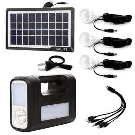 Panel Solar + 3 bombillos + Linterna Batería Cargador GDLITE GD-8017 !!NUEVO!!