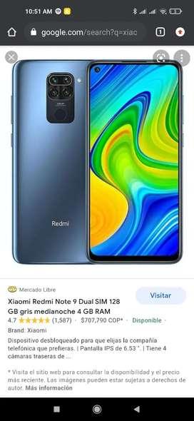 Se vende Xiaomi note 9