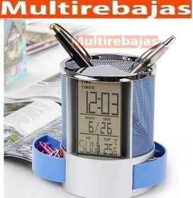Reloj Digital con Pantalla Lcd Porta lapices Para Oficinas,porta Esferos