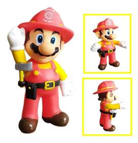 Figura Mario Bros Colección Mario Bombero Juguete Figuras