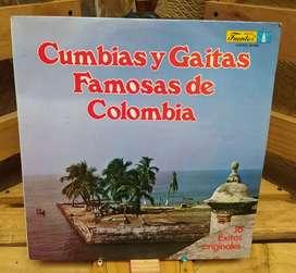 Discos Long Play Lps Acetatos Pastas Vinilos Vinyl Cumbias y Gaitas Famosas De Colombia