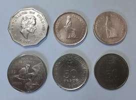 Vendo lote de 6 monedas de 1 peso, 5 pesos, 10 pesos y 50 pesos de Colombia en buen estado.