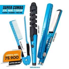promocion Combo Plancha De Cabello Nano Titanium+ Rizador+ Peine