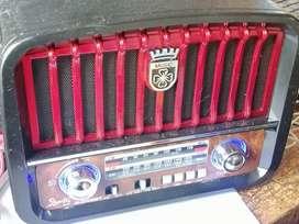 Radio am fm retro con USB SD pila recargable buena duración conexión Bluetooth