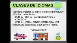 Clases de Inglés, Francés y Portugués.