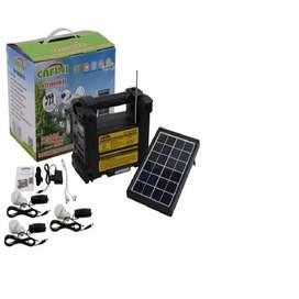 parlante Kit Solar Portátil+panel Solar+3 Focos+radio Fm+reprod Usb + bluetooth/cafini
