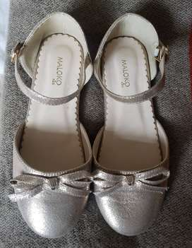zapatos de fiesta en dorado talla 33