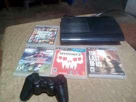 Playstation 3 500 gb superslim 15 juegos digitales 4 físicos