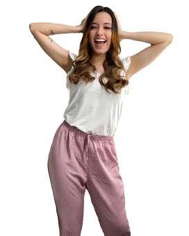Pijama Mujer Pantalon Largo Y Blusa Manga Corta