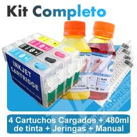 Cartuchos Recargables Epson Xp241 Conversión Y 480ml Tinta