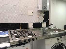 Estufa de 4 puestos con lavaplatos