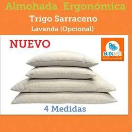 Almohada Cervical Cascara de Trigo Sarraceno Ergonomica Buen descanso, natural  NidiArte
