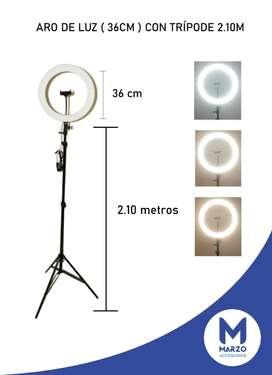 Aro de luz 36cm con trípode de 2.10 metros, con obsequio de cables de celular o regleta.