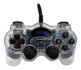 Gamepad Joystick Seisa USB para computadora transparente
