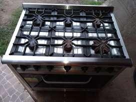 Cocina industrial con 6 hornallas horno con ladrillos reflactarios