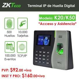 K20/K50 ZKTeco Terminal IP de Huella Digital.