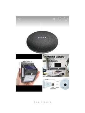 Gadgets útiles : Foco con cámara , Google home Mini, Foco solar con sensor Movimiento