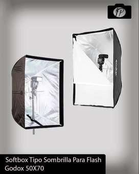 SOFTBOX DE 50X70 PROFESIONAL TIPO SOMBRILLA PARA ILUMINACION FOTOGRAFICA