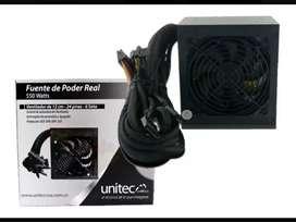 Fuente de poder unitec 550 wats reales nueva + chasis
