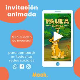 El Rey León Invitación Animada en Video