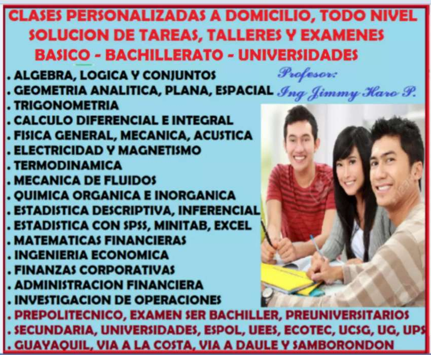 INGENIERO, PROFESOR MATEMATICAS, FISICA, QUIMICA, CALCULO, ESTADISTICA, SOLUCION DE TAREAS, TALLERES, EXAMENES. 0