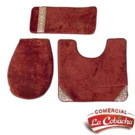 Set baño alfombra cobertor coral