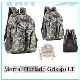Morral Pixelado Gris 40 LT