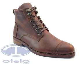Botas Cuero Zapatos Franchesco Hombre Suela Caucho