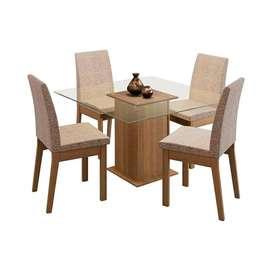 Juego de comedor Laila en madera con mesa de Vidrio