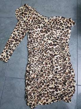Vestido Drapiado Animal Print