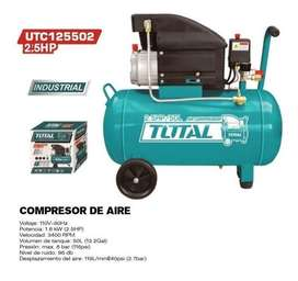 Compresor de Aire de 2.5Hp de 50 litros Marca Total.