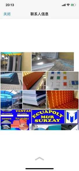 Láminas de policarbonato y teja PVC