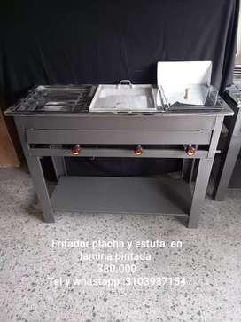 Mueble de 3 freidor ,plancha y estufa