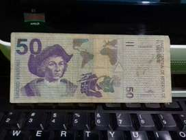 Billete de 50 colones de 1997