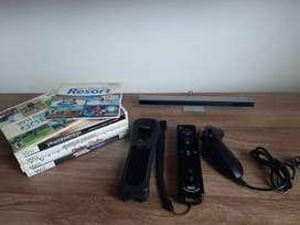 Control Wii + Nunchuck + Barra Sensora Wii + 6 Juegos