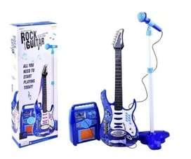Guitarra De Juguete Eléctrica Con Amplificador Micrófono Niños Y Niñas