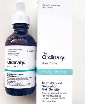 El suero multipéptido ordinario para densidad de cabello. Marca *The Ordinary*.
