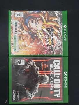 Dos juegos de xbox one dragón ball  fighterz y cod 3