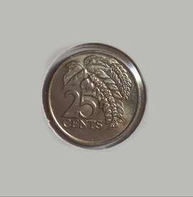 Moneda de Trinidad y Tobago, 1976, 25 cent, sin circular